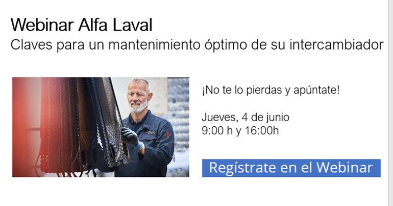 Webinar de Alfa Laval sobre mantenimiento de intercambiador el 4 de junio
