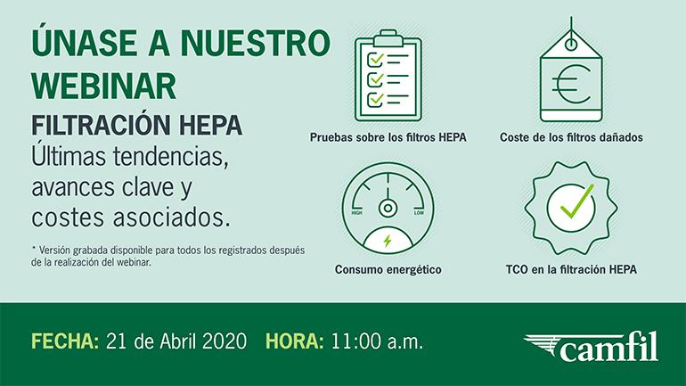 Camfil presenta las tendencias cambiantes en los requisitos de la filtración Hepa en un webinar