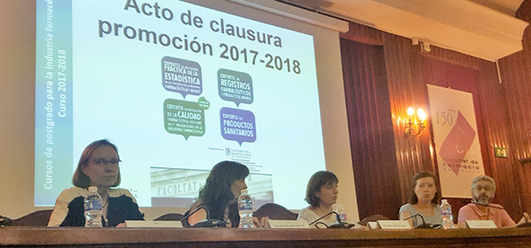 Clausura de los cursos de Postgrado del área de Tecnología Farmacéutica en la Universitat de Barcelona