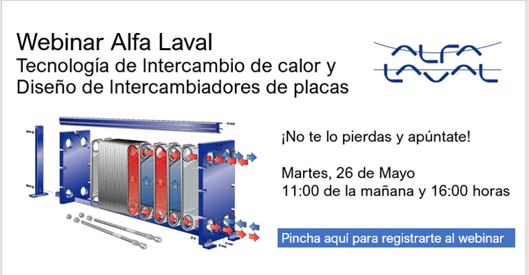 Webinar sobre Intercambio de calor y diseño de intercambiadores de calor de placas el martes 26 de mayo