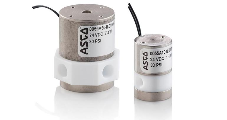 Válvula de membrana micro fluídica ASCO Serie 055 para el control de líquidos altamente agresivos
