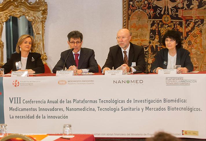 Inauguración del evento. De izda. a dcha.: Margarita Alfonsel, Humberto Arnés, Francisco Marín y Regina Revilla