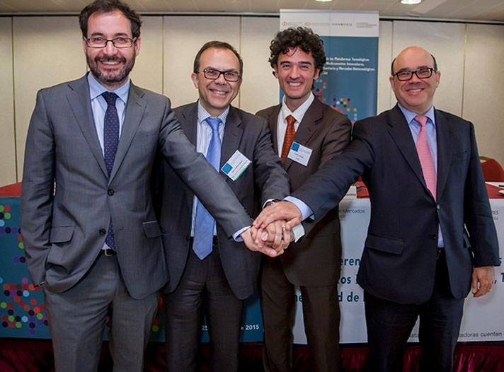 De izda. a dcha.: Jorge Barrero, Josep Samitier, Ángel Lanuza y Javier Urzay